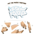 Puzzle game for children pig vector image vector image