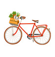 red bicycle with flowers and groceries vector image