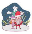 santa claus with tree and helper in snowscape vector image vector image