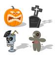 scary halloween signs pumpkin voodoo doll vector image