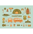 set equipment for camping vector image vector image