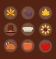 set icons of thanksgiving day happy vector image