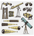 set of astronomical instruments telescopes vector image vector image