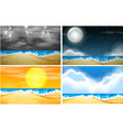 set of beach background with different weather vector image