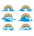 set rainbow and clouds vector image vector image
