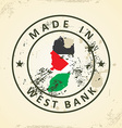 Stamp with map flag of West Bank vector image vector image