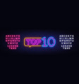 top 10 neon text top ten neon sign design vector image vector image