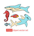 underwater sea life animals clipart set vector image