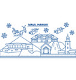 usa hawaii maui winter city skyline merry vector image vector image