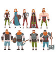 vikings with weapon and ancient draccar set vector image vector image