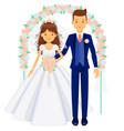 wedding couple bride and groom under arch vector image