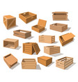 wooden packages or realistic wood boxes vector image vector image