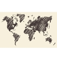 World Map Contour vector image vector image