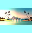 tropical sunset on seaside amazing exotic vector image