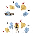 Four aces and Afroamerican Joker playing cards vector image