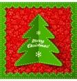 Green textile applique Christmas tree vector image