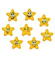 Yellow stars with emotional faces vector image