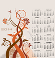 2014 Floral Calendar vector image