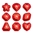 a set of red emblems of precious stones vector image vector image