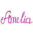 amelia name lettering tinsels vector image vector image