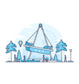 amusement park - thin line design style vector image vector image