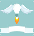 bulb with wings idea concept vector image vector image
