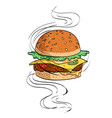 cartoon image of tasty burger vector image vector image