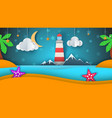 cartoon paper island beach palm star cloud vector image vector image