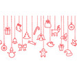 christmas icon background holiday seamless border vector image