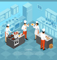 cook duties isometric composition vector image vector image