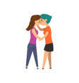 couple of gay women embracing and kissing lgbt vector image vector image