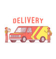 delivery van and workers vector image