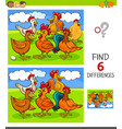 finding differences game with hens and roosters vector image vector image
