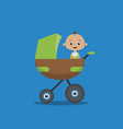 flat style with little boy vector image