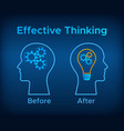 gear brain and head lamp creative thinking concept vector image