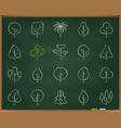 geometric trees chalk draw line icons set vector image