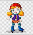 girl rollerskating on transparent background vector image vector image