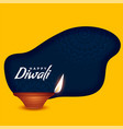 happy diwali burning diya on yellow background vector image vector image