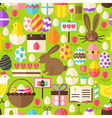 Happy Easter Flat Design Green Seamless Pattern vector image