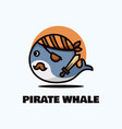 logo pirate whale simple mascot style vector image