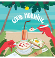Man eating a continental breakfast on the ocean vector image