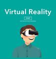 man wearing virtual reality glasses vector image vector image