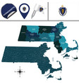 map of massachusetts with regions vector image vector image