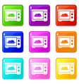 microwave icons 9 set vector image vector image