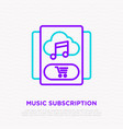 music subscription music in cloud shopping cart vector image vector image