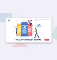 people drink healthy energy drinks landing page vector image