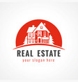 real estate logo cottage sun vector image vector image