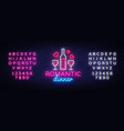 romantic dinner neon logo wine neon sign vector image