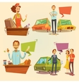 Salesman Retro Cartoon Set vector image vector image