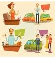 Salesman Retro Cartoon Set vector image vector image